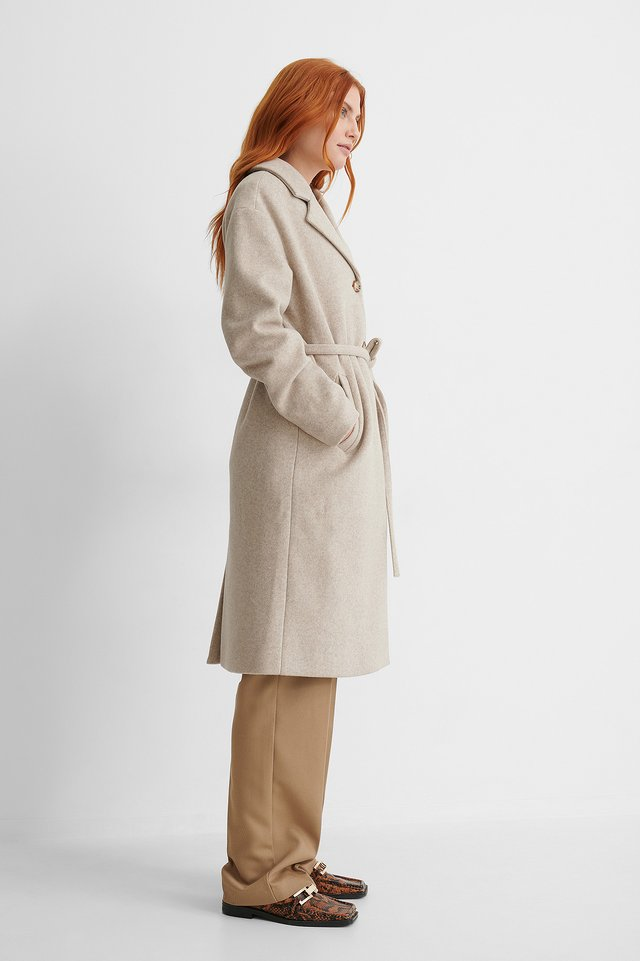 Light Beige Classic Belted Coat