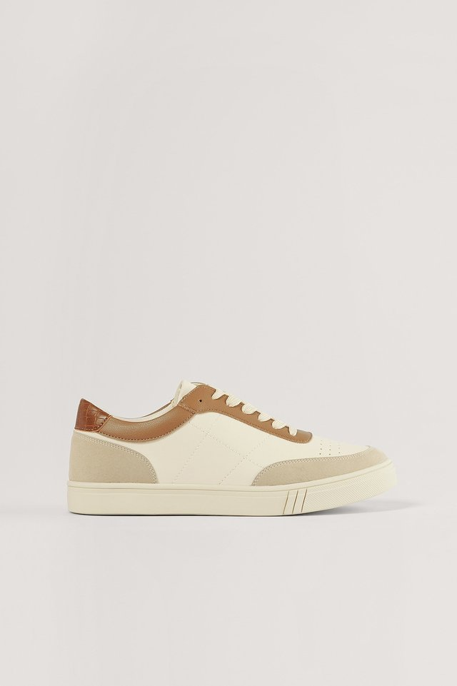 Beige/Brown Classic Court Trainers
