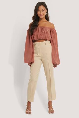 Beige Klassiske Dressbukser