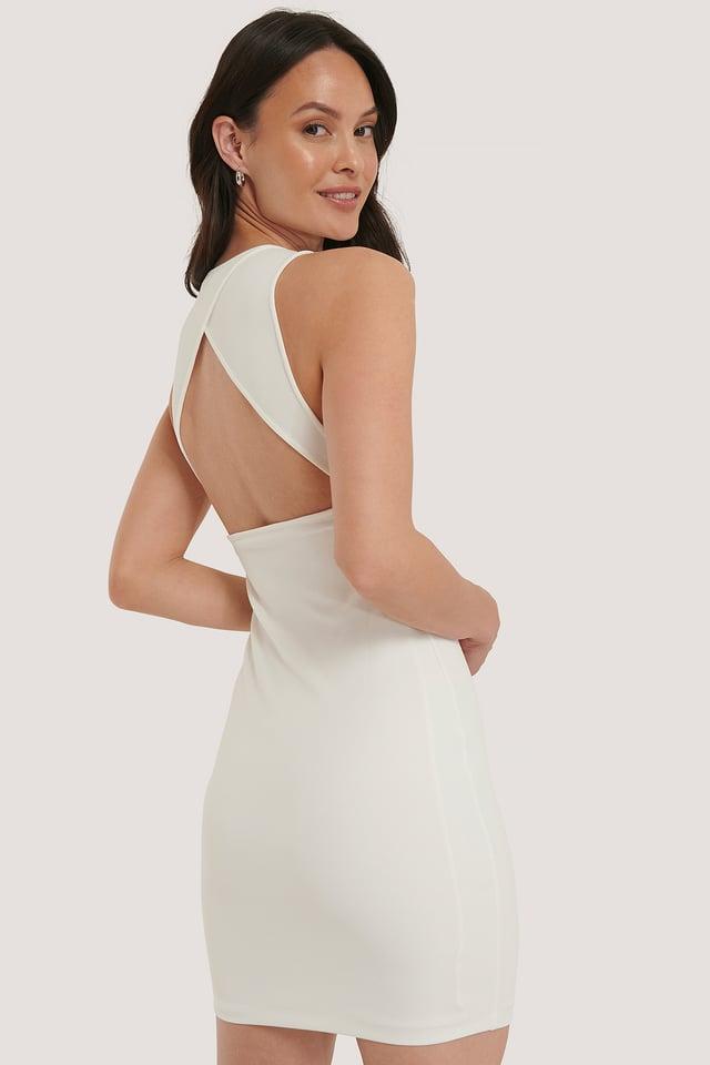 Clean Open Back Dress White