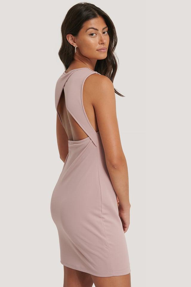 Clean Open Back Dress Dusty Dark Pink