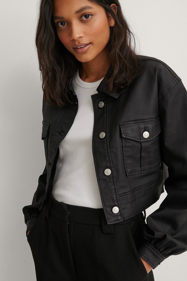 Black Coated Balloon Sleeve Cropped Jacket