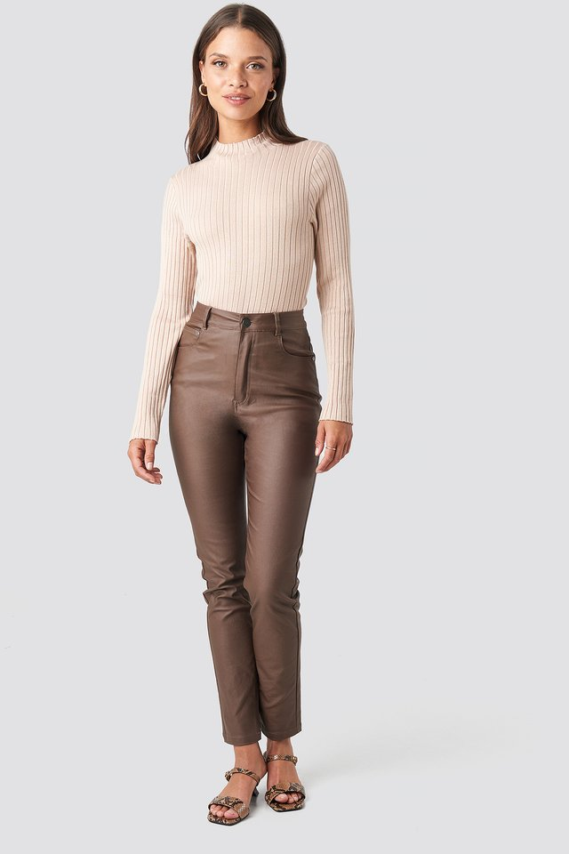 Brown Coated Cotton Pants