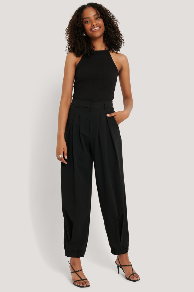 Cocoon Elastic Suit Pants Black