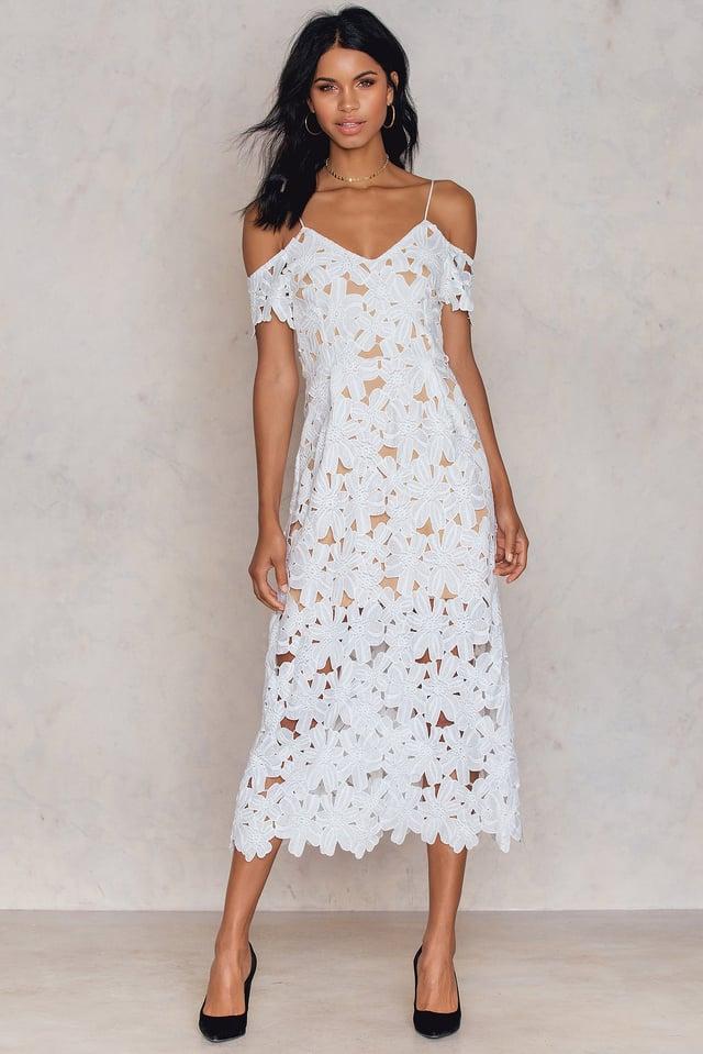 Cold Shoulder Crochet Midi Dress White