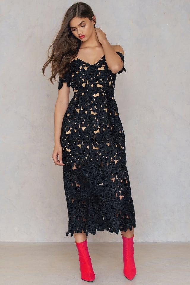 Cold Shoulder Crochet Midi Dress Black