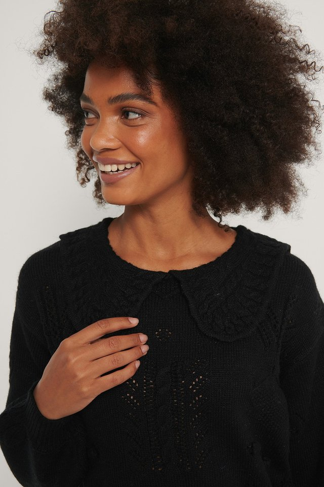 Collar Detail Knitted Sweater Black