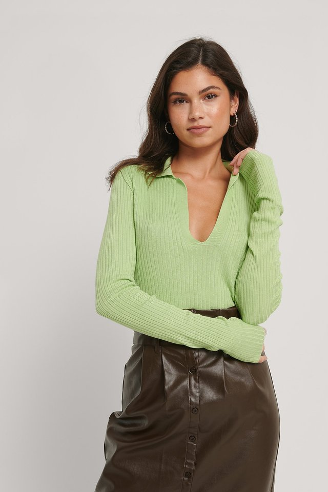 Collar Detail Knitted Sweater Green
