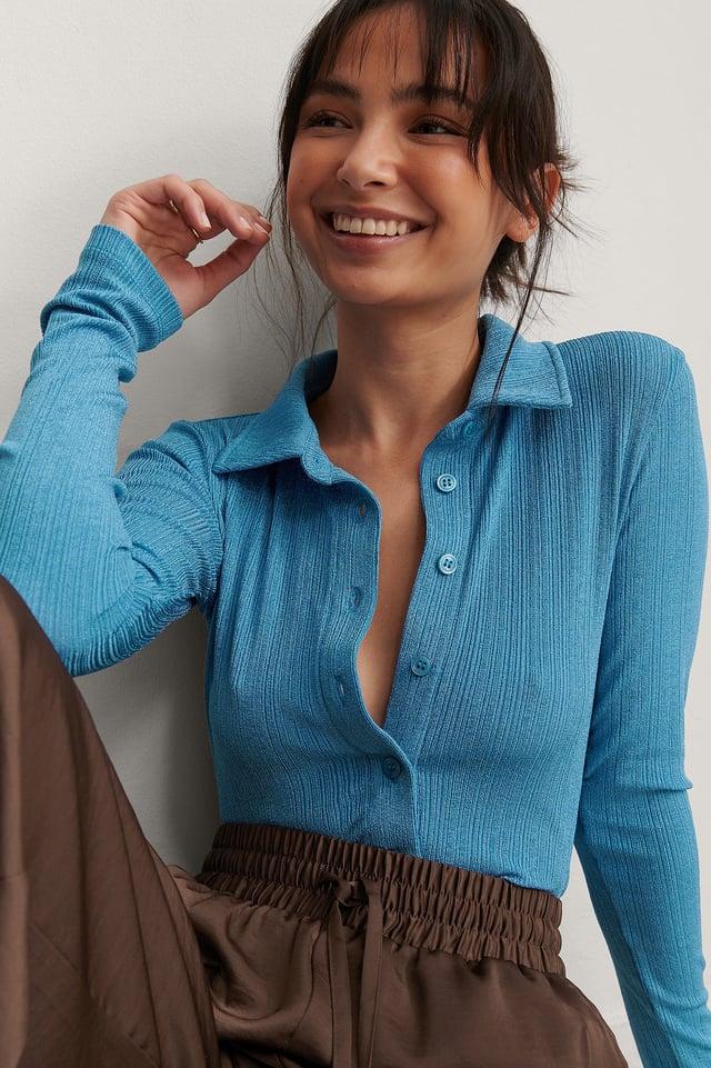 Blue Collar Detail Top