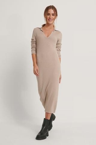 Beige Collar Knitted Midi Dress