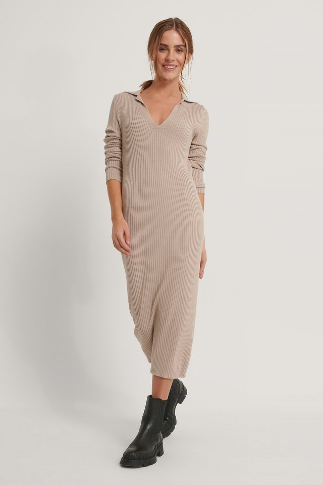 Collar Knitted Midi Dress Beige