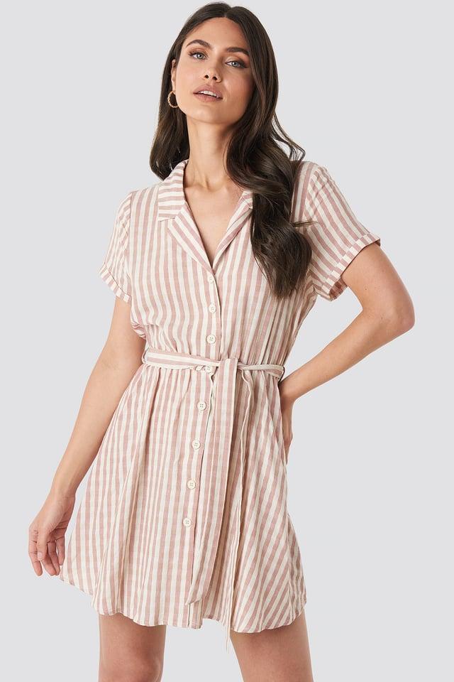Collar Stripe Shirt Dress Pink/White Stripe