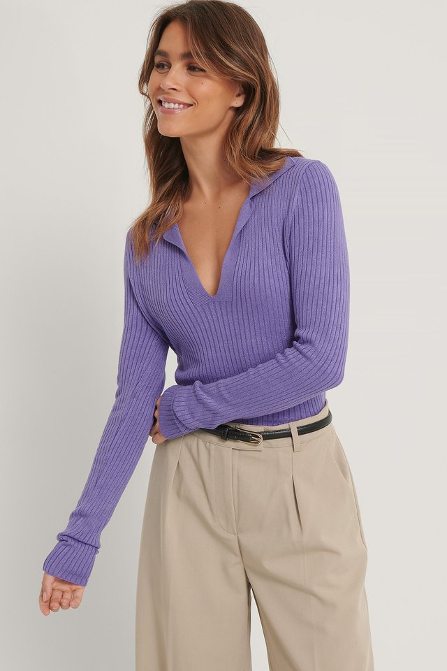 Collar Detail Knitted Sweater Purple