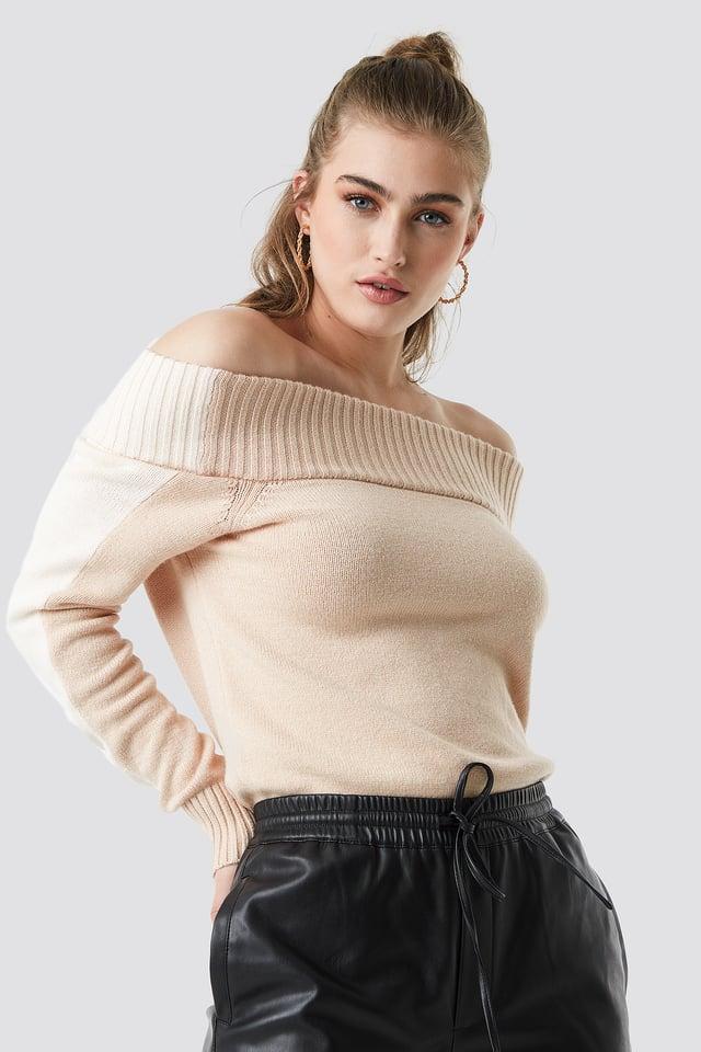 Color Block Off Shoulder Sweater Beige/White