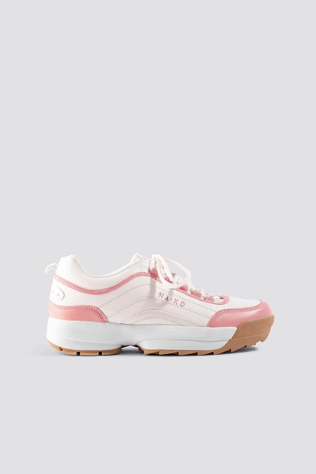 Color Block Sneakers Pastel Pink