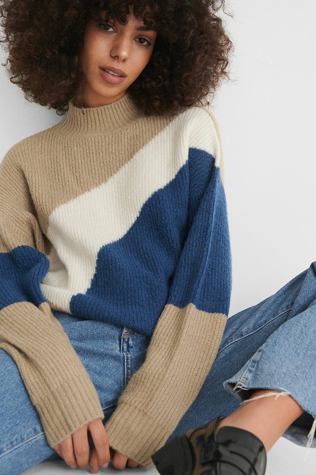 Beige/Blue Color Blocked High Neck Knitted Sweater