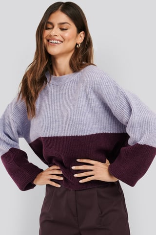 Purple Color Blocked Knitted Sweater