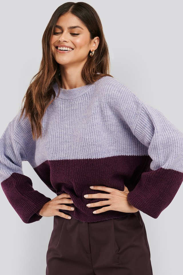 Color Blocked Knitted Sweater Purple