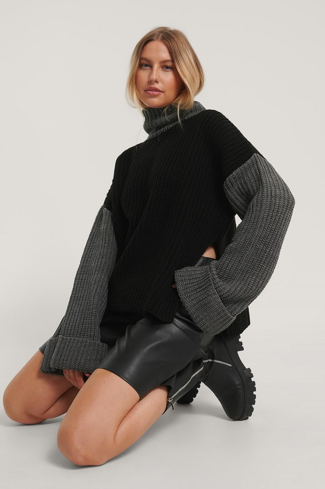 Color Blocked Oversized Knitted Sweater Black/Grey