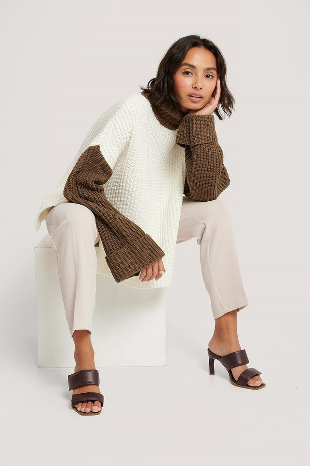 White/Brown Color Blocked Oversized Knitted Sweater