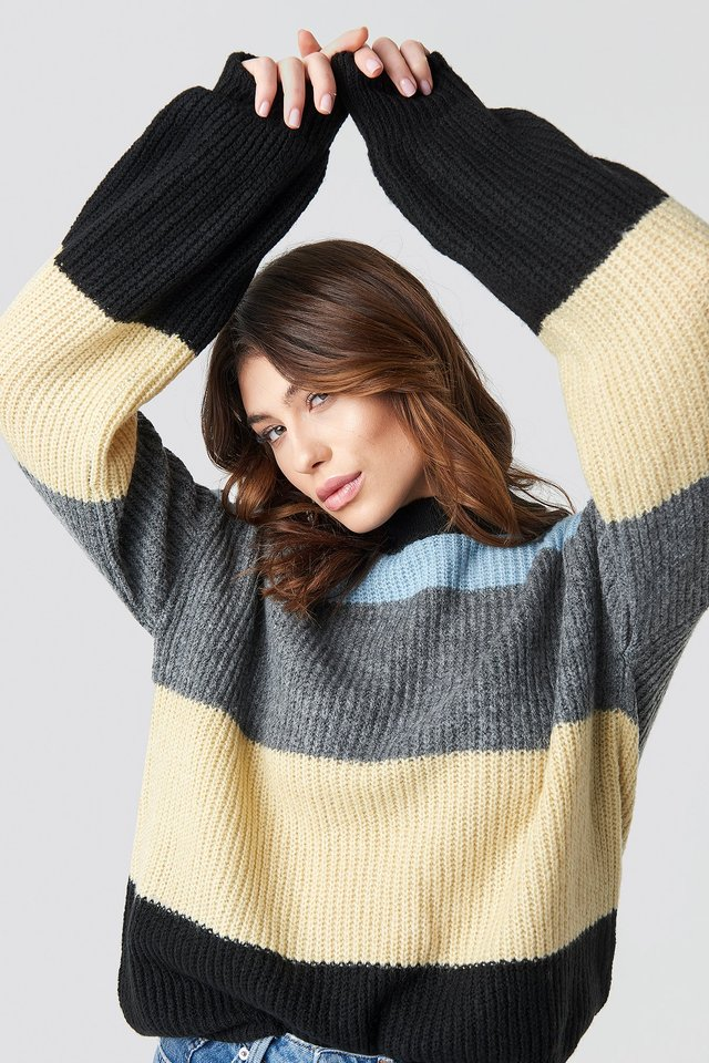 Color Striped Balloon Sleeve Knitted Sweater Blue