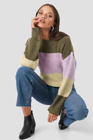 Brown Color Striped Balloon Sleeve Knitted Sweater
