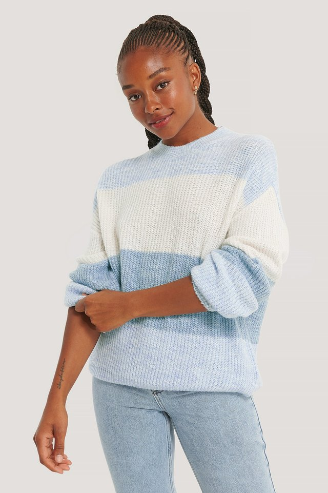 Color Striped Knitted Sweater Blue