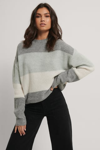 Grey Color Striped Knitted Sweater