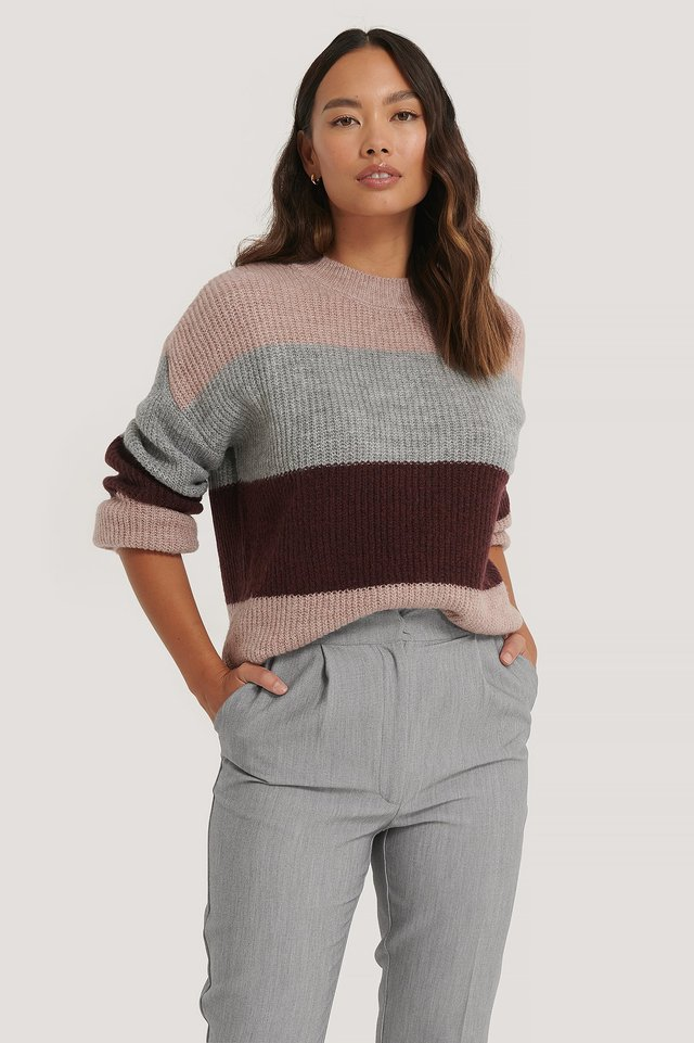 Pink Color Striped Knitted Sweater