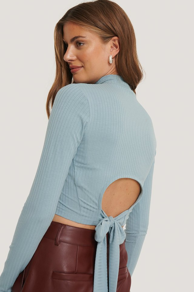 Dusty Blue Open Back Ribbed Top