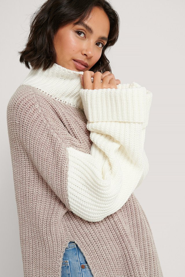 Color Blocked Oversized Knitted Sweater Beige/White