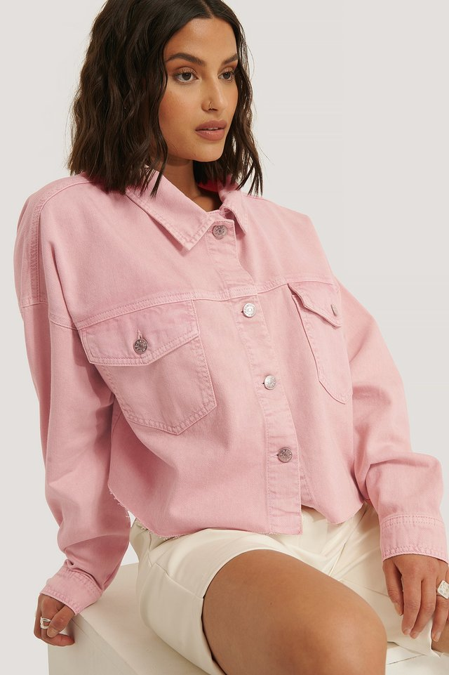 Pink Denimskjorte Med Rå Hem