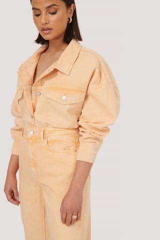 Orange Denimskjorte Med Grov Kant