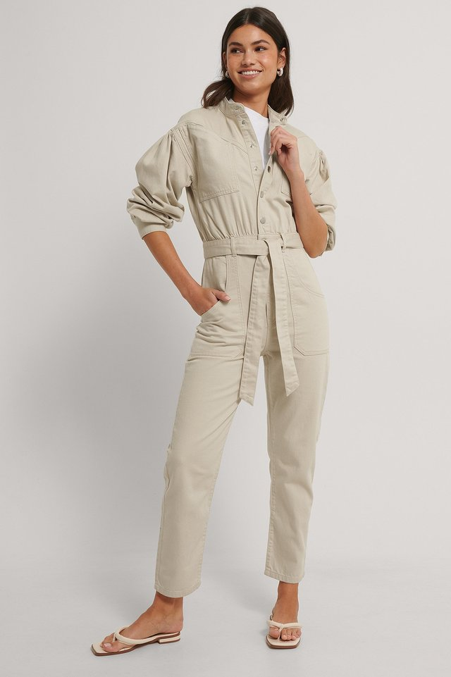 Light Beige Colored Denim Jumpsuit