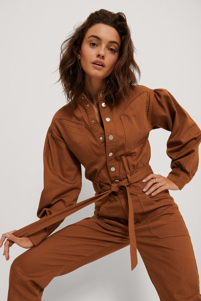 Rust Färgad Jumpsuit I Denim