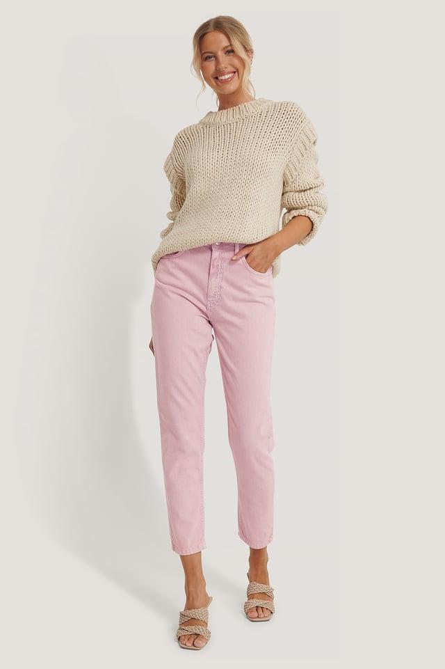 Pink Colored Denim Mom Jeans