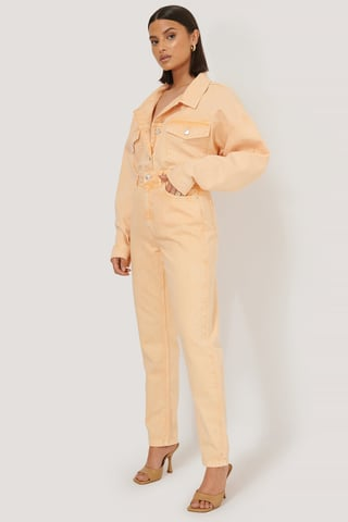 Orange Mom-Jeans Med Hög Midja