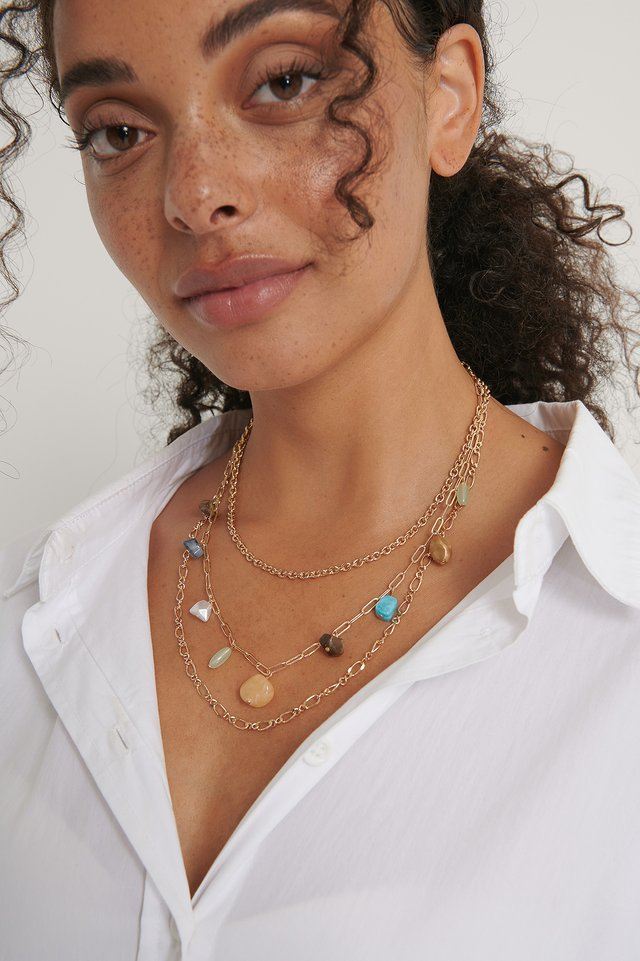 Gold Colored Stone Layered Necklace