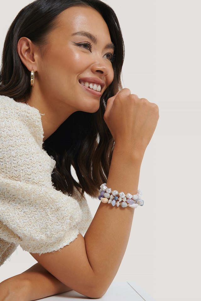 Colored Layered Pearl Bracelet Multicolor