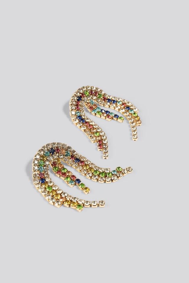 Colored Rhinestone Halfmoon Earrings Mixcolor Print