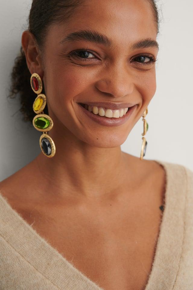 Multicolor Colorful Oval Drop Earrings