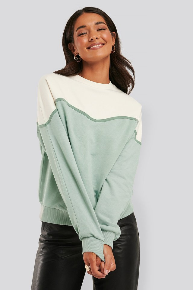 Colour Block Sweatshirt White/green