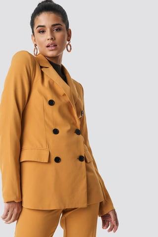 Yellow Contrast Buttons Blazer