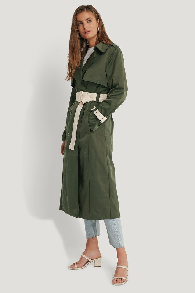 Contrast Details Trenchcoat Dark Green