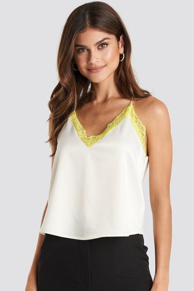 Contrast Lace Satin Cami Top Yellow