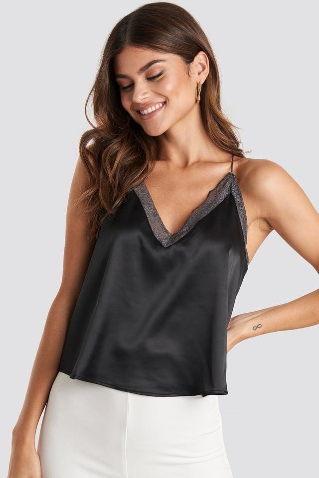 Black/Grey Contrast Lace Satin Cami Top