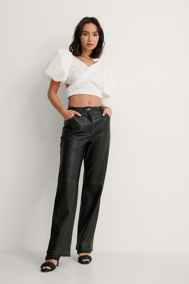 Black Contast PU Pants