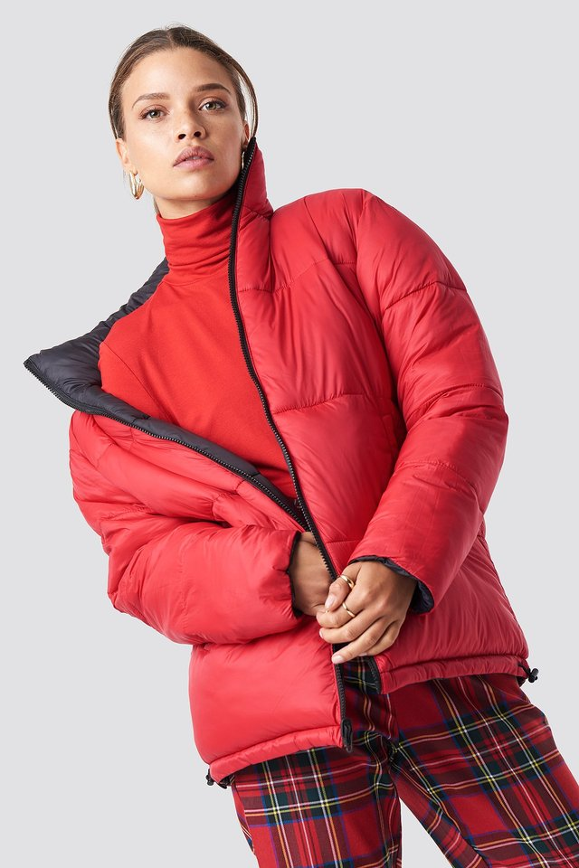 Contrast Puffer Jacket Black/Red