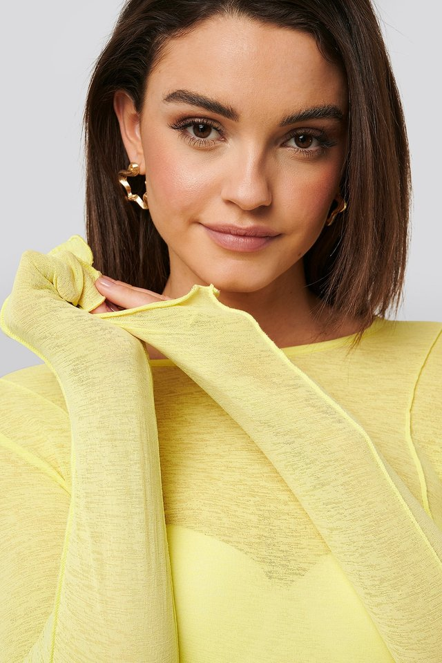 Contrast Seam Jersey Top Yellow