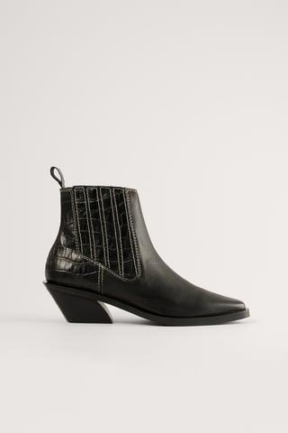 Black Lederstiefel Mit Kontrastnaht